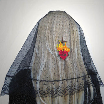 Sacred Heart Holy Cross Embroidered Black Lace Mantilla Style Chapel Veil