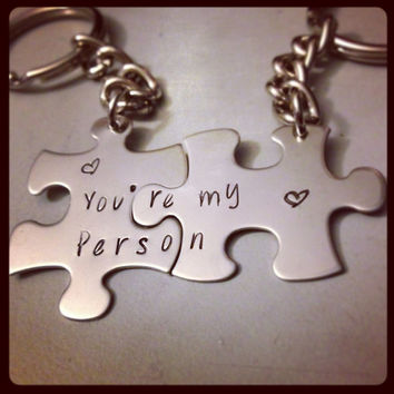 Personalized Keychain Set Hand Stamped Jewelry - Grey's Anatomy Inspired You're my Person Puzzle piece keychain set