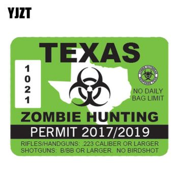 YJZT 13.1CM* 10.2CM Lnterest Car Sticker TEXAS ZOMBIE HUNTING PERMIT Reflective Motorcycle Parts C1-7182