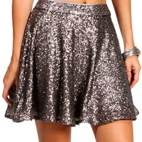 Gray Sequin Skater Skirt