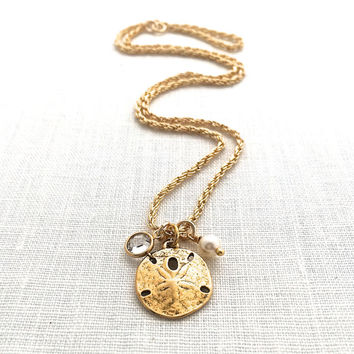 Sand Dollar Necklace Pendant, Beachy Gold Charm Necklace, Sanddollar Jewelry Gift