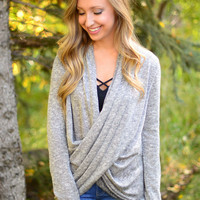 Here For You Sweater- Heather Grey