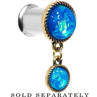 00 Gauge Double Aqua Imitation Opal Dangle Plug