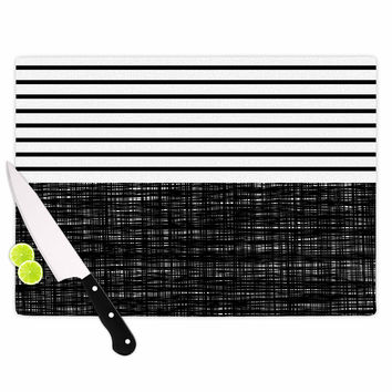 "Trebam ""Platno (with Black Stripes)"" Black White Cutting Board"