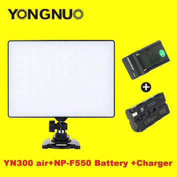 YONGNUO YN300 Air YN-300 Air LED Camera Video Light 3200K-5500K with NP-F550 Decoded Battery & Charger for Canon Nikon Camcorder