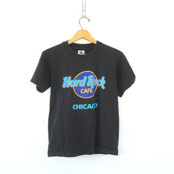 Vintage Hard Rock Cafe Tshirt. Chicago, Illinois novelty shirt. black tee shirt / S