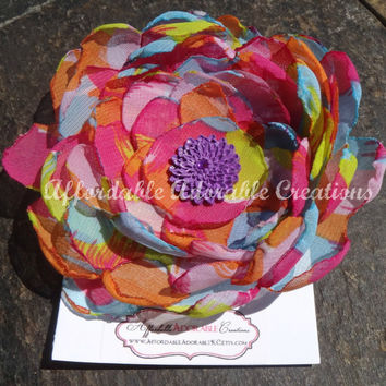 Oversized Rainbow Hair Flower or Brooch Pin - Handmade from Multicolor Chiffon
