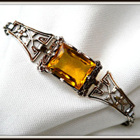 Vintage Sterling Silver Art Deco Yellow Glass Bracelet