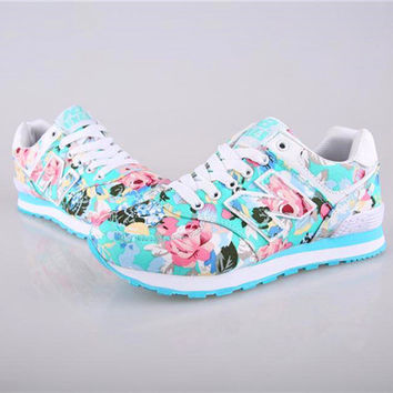 """New Balance"" Fashion Casual Multicolor Floral Print Breathable N Words Sneakers Women Running Shoes"