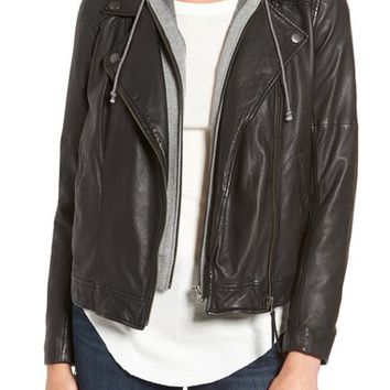 Treasure&Bond Leather Moto Jacket with Removable Hooded Vest | Nordstrom