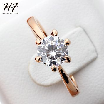Rose Gold Color Classic Simple Design 6 Prong Sparkling Solitaire 1ct Zirconia  Forever Wedding Ring Wholesale R014