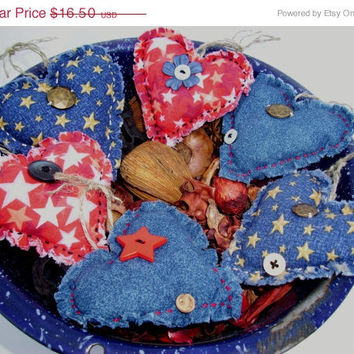 Christmas in July  Sale Patriotic Country HEART BOWL FILLERS, Handmade Primitive, Rustic, Shabby Chic, Cottage Chic, Scented