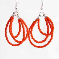 Orange beaded loop earrings, Silver plated, Lead and Nickel free, wire loop earrings, hoop dangle seed bead earrings, uk seller