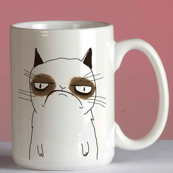 grumpy cat cute mug coffee, mug tea, size 8,2 x 9,5 cm