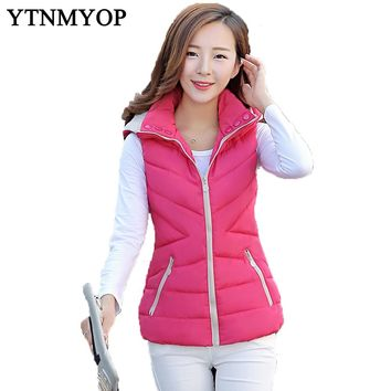 New Slim Fashion And Winter Vest With Hooded Women's Short Vest Jacket Sleeveless Down Cotton Slim Waistcoat Plus Size