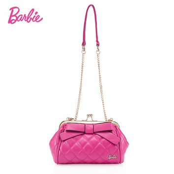 BARBIE designer small mini bags women chain crossbody bags handbags shoulder bags female bow Ladies girl PU Leather Pink female