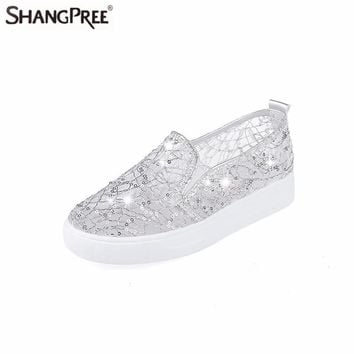 2017 New Fashion Summer Lace Rhinestones Women Flats Casual Cut Outs Shoes Hollow Floral Breathable Platform Platform Flat Shoes