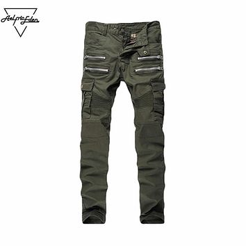 Men Skinny Biker Jeans Multi Pockets Cargo Pants Army Green Mens Pleated Pencil Jeans Elastic Jeans