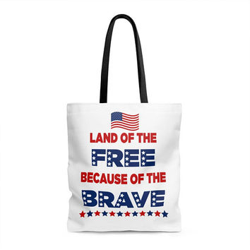 Tote bag Land of the free because of the brave Memorial day Independence day 4th July Usa America Patriots