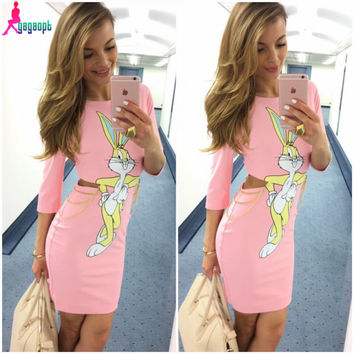 Gagaopt Autumn Dresses Women's Sexy Waist with Zip Hollow Bodycon Vestidos vintage Candy Color Shell Print Rabbit Solid Dresses
