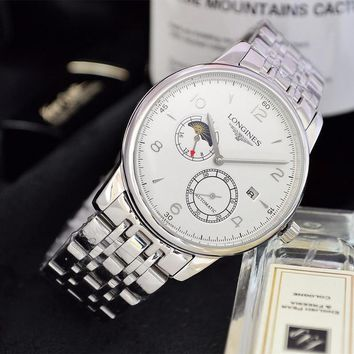 DCCK L057 Longines Automatic Business Fashion Elegant Noble Steel Watchand Watch White Sliver