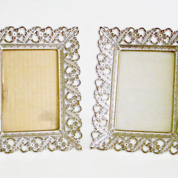 Vintage Hollywood Regency Ornate Brass Picture Frames