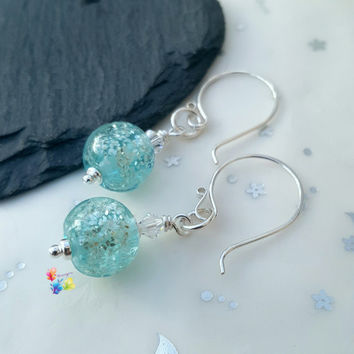 Glittering Frost Blue Earrings, Sterling Silver Earrings, Lampwork Jewellery, Gift for Her, Crystal Jewelry, blue jewellery, wife girlfriend