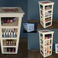 Nail Polish  Florals Fabric Top Carousel - 4 Tier Tower Organizer (100 bottles)