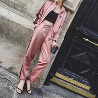 """Adidas"" Women Casual Multicolor Stripe Zip Cardigan Baseball Clothes Long Sleeve Trousers Set Two-Piece Sportswear"