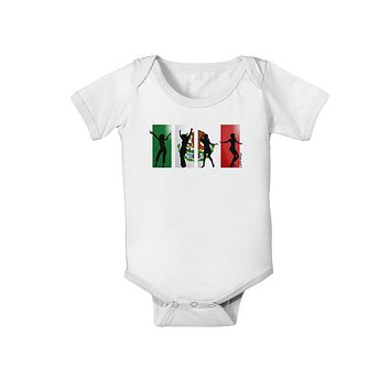 Mexican Flag - Dancing Silhouettes Baby Romper Bodysuit by TooLoud