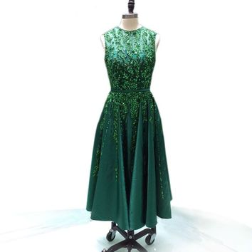 O-Neck green evening dress crystal party dress Sleeveless Pearls length heavy beads Dress