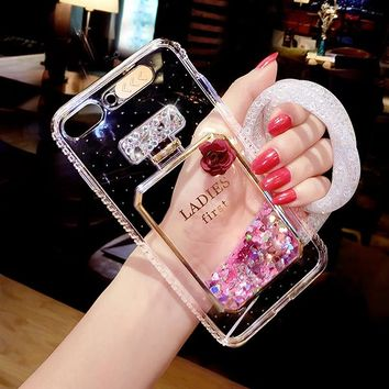 Bling Stars Dynamic Liquid Quicksand Phone Case For iPhone 6 6S Cases Led Flash Light Up Girl Cover for Iphone 7 8 6s Plus Case