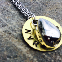 "Hand Stamped Stainless Steel - Brass Cremation ""Teardrop"" Urn Necklace Jewelry"