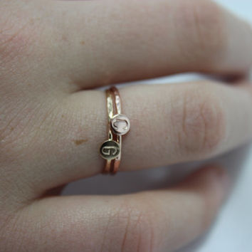 PAIR of 2 Tiny Dot Ring SOLID 14k Gold Sparkly Faceted Band  Circle Disc Stacking Personalized Monogram Initial Mother BFF Lover's Rings