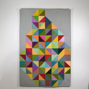 Geometric Lap Quilt, Multicolored Bedding, Modern Geometric Quilt, Rainbow, Contemporary Quilt