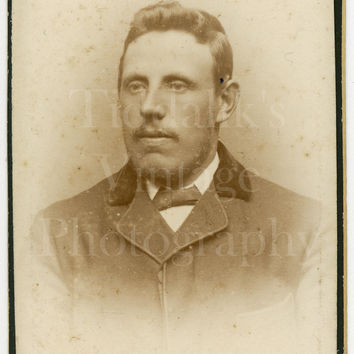 CDV Carte de Visite Photo Victorian Young Handsome Dapper Mustached Man Portrait - Turnbull & Sons of London England - Antique Photograph