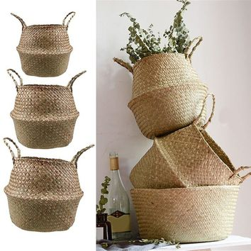 BS Foldable Natural Seagrass Woven Storage Pot Garden Flower Vase Hanging Basket With Handle Storage Bellied Basket BN