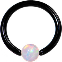 "16 Gauge 5/16"" White Synthetic Opal Black IP Steel BCR Captive Ring 
