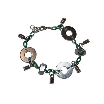 Green Chainlink with Washers Bracelets