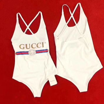 """Gucci"" Women Fashion Letter Print Backless Crisscross Strap Sleeveless Bodysuit One Piece Swimwear Bikini Swimsuit"