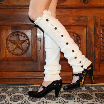 WHITE Lace Boot Cuffs, Long Leg Warmer, Lace Boot Toppers, Knitted Boot Socks, Lacy Boot Topper, Lace trim Boot Cuffs, Knit Boot Cuffs,