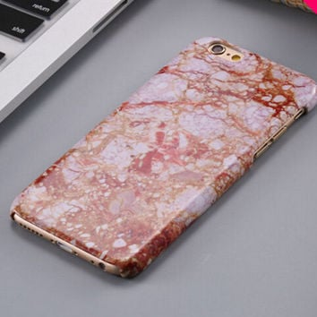 Vinatge Orange Marble Stone iPhone 5se 5s 6 6s Plus Case Cover  + Nice Gift Box 267