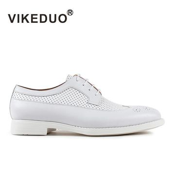 Vikeduo 2017 Handmade New Brand Fashion casual party wedding Brogue Lace-up leisure Genuine Leather flat Mens White Derby Shoes
