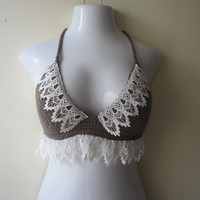 LACE TRIM Cropped top, Lace trim bralet, lace trim bustier,  Boho chic, festival clothing,  gypsy, Boho, festival top, hippie