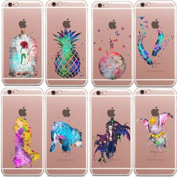 Watercolor Prince Cat Pineapple Audrey Hepburn Elephant Rapunzel Soft TPU Phone Case Cover For iPhone 5 6s 6Plus SE 5C 7 7Plus