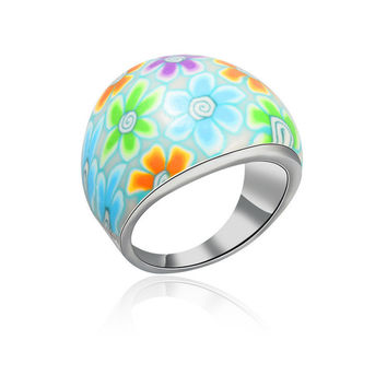 Multi-color Floral Pattern Ring
