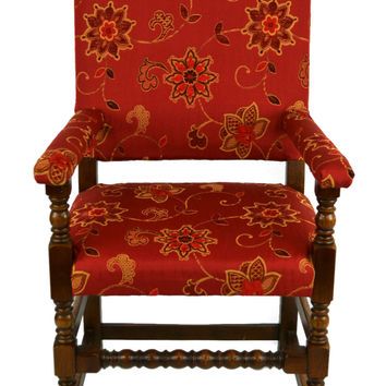 Spanish Style Red Dining Armchair Carver or Occasional Library Chair in Oak Vintage