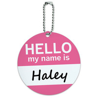 Haley Hello My Name Is Round ID Card Luggage Tag