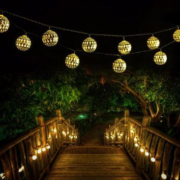 Outdoor Solar LED Moroccan String Light 30 LED Xmas Waterproof Warm White String Lights Party Festival Decoration Lighting