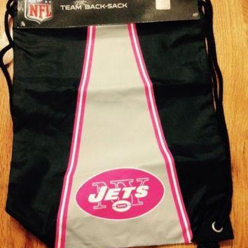 NWT NY New York JETS Drawstring Back Pack Sack Sling Drawstring Pink New